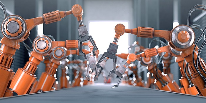 Assembly line of robotic arms