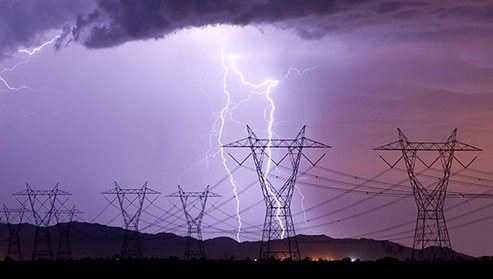 Lightning near power lines