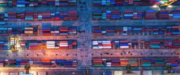 hundreds of containers viewed from above