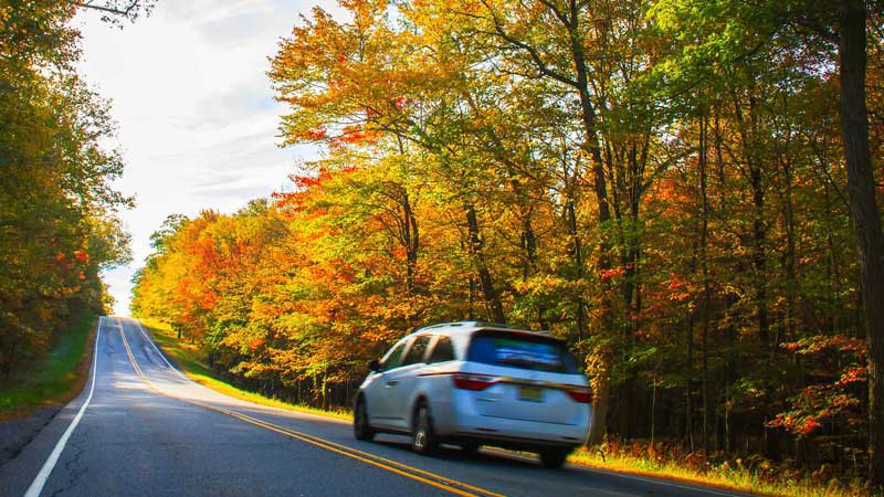 minivan driving down a straight road during the fall with various leaf colors