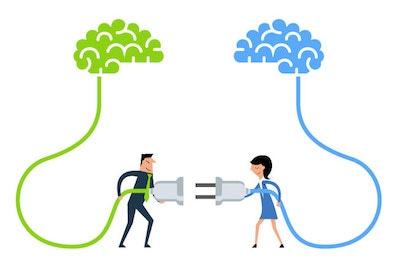 Drawing of two people connecting two brains
