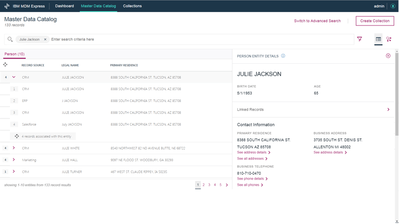 IBM MDM Express - Granular search capabilities across data records and entities screenshot image