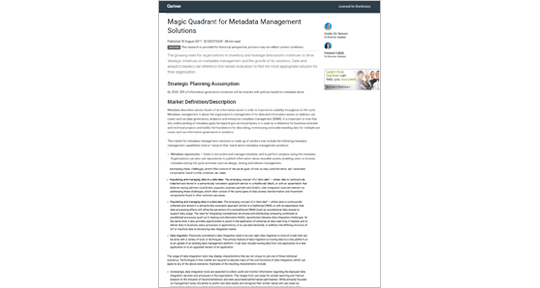 Gartner Magic Quadrant for Metadata Management Solutions thumbnail