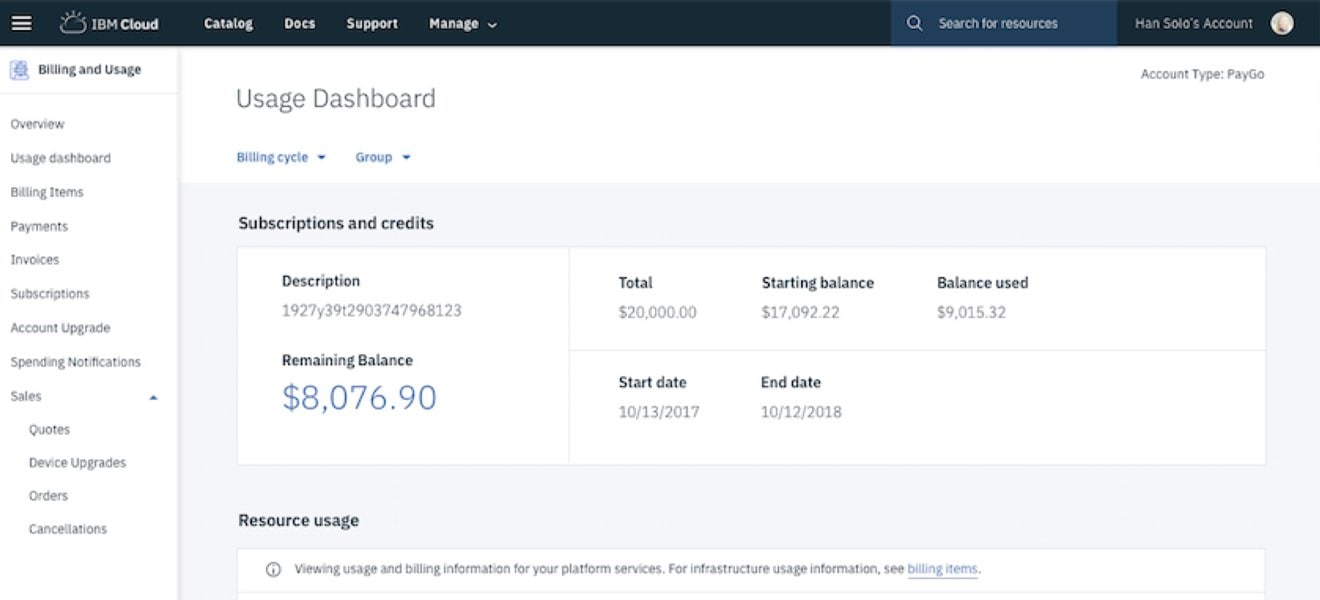 Screen shot showing invoice and payment tasks for your IBM Cloud environment