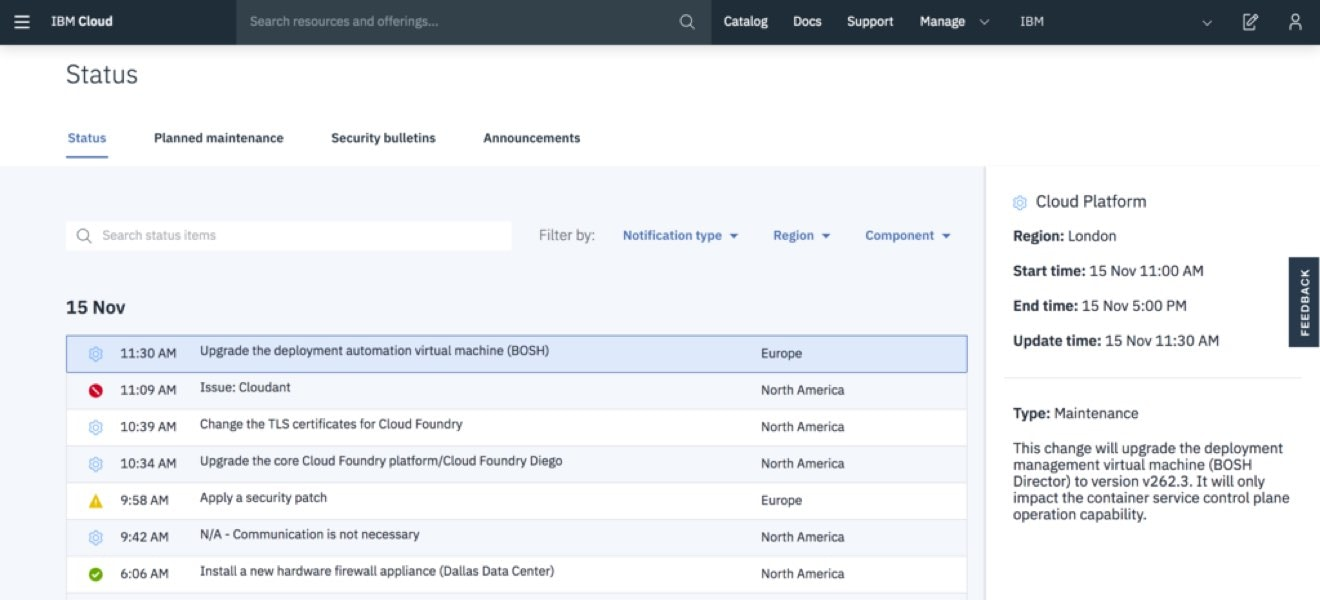 Screen shot showing the improved view of the status of the IBM Cloud platform