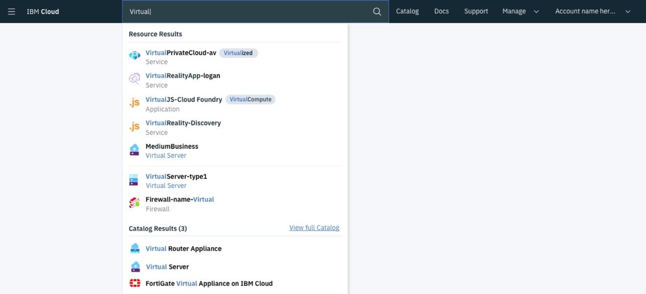Screen shot illustrating the search functionality for resources in the IBM Cloud platform