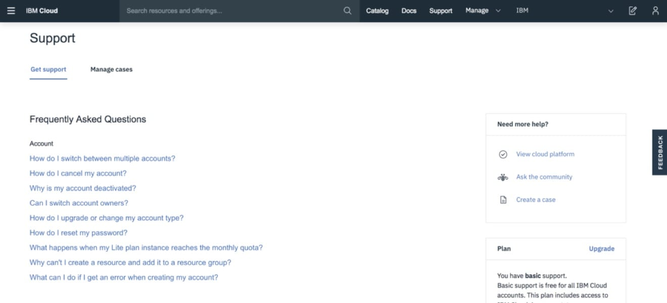 Screen shot showing the new IBM Cloud support center