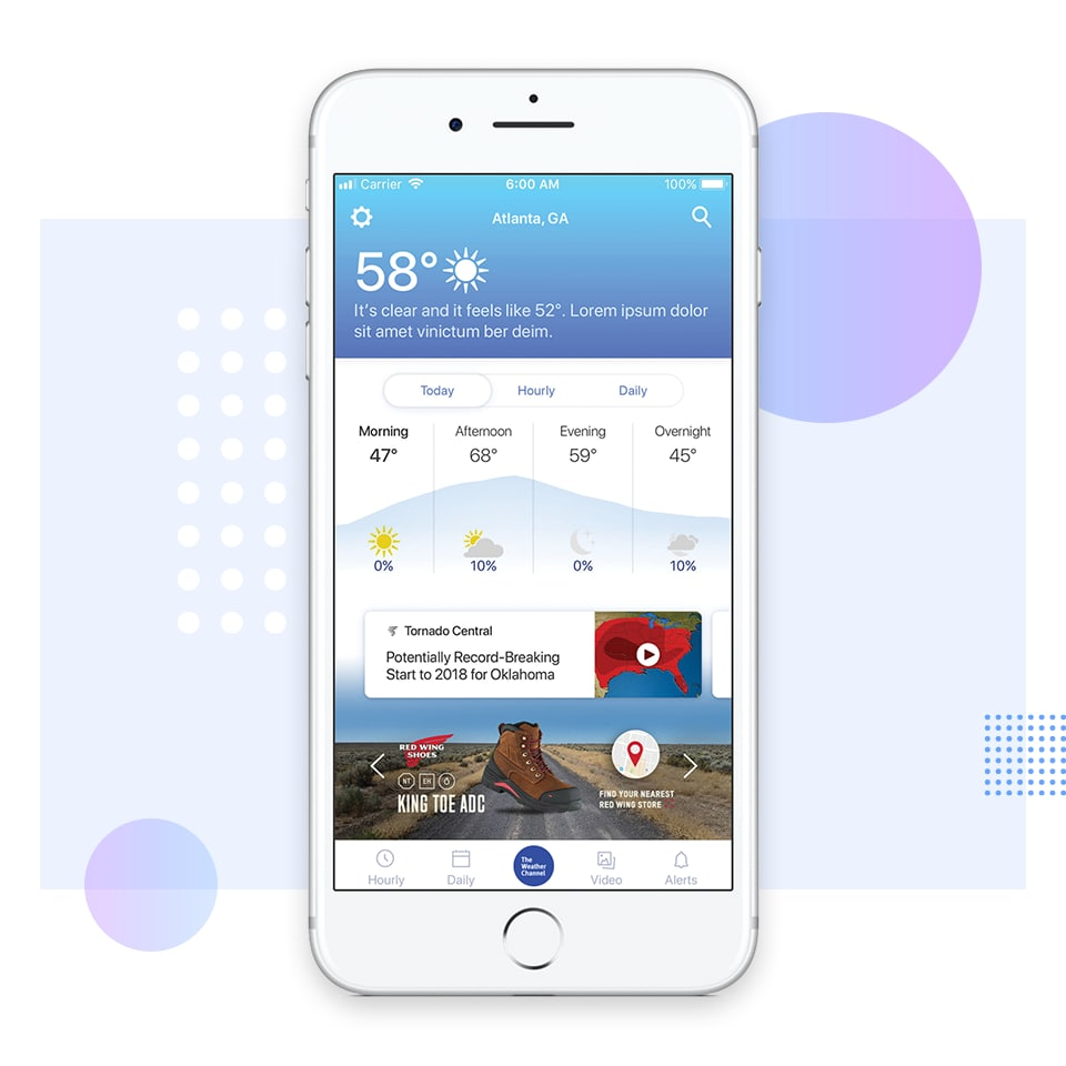 iphone with weather channel on screen