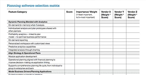 Screen capture of a worksheet in the planning software selection guide