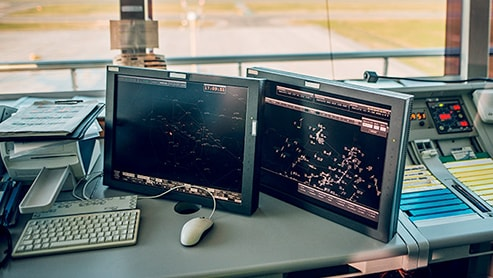 computer monitors and dispatching equipment