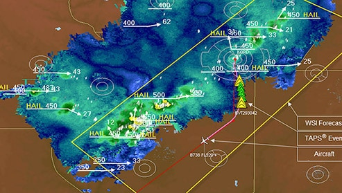 aviation map with notations about weather conditions