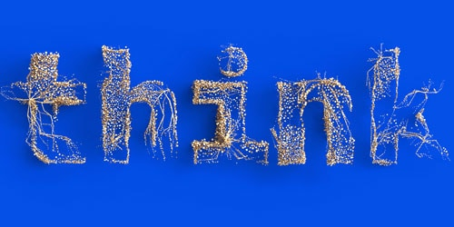 think word made of particles in front of blue background