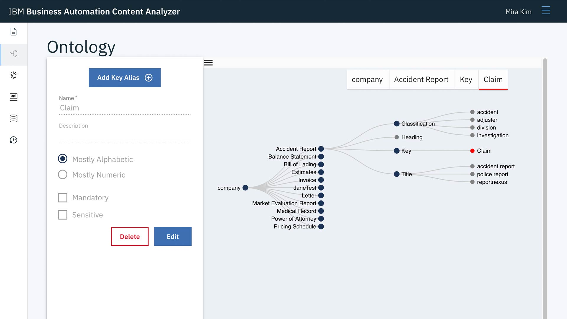 IBM Business Automation Content Analyzer interface