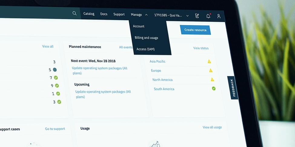 Manage menu items in the IBM Cloud console