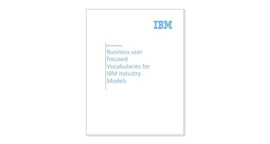 TItle page of Business-user-focused vocabularies for IBM Industry Models paper