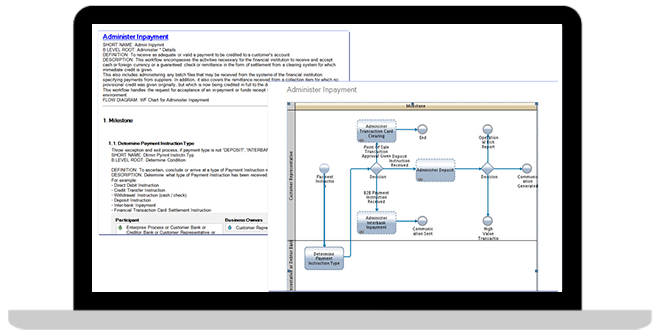 Laptop screen with banking process and service models screenshot