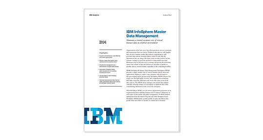 لقطة شاشة لملخص IBM InfoSphere Master Data Management