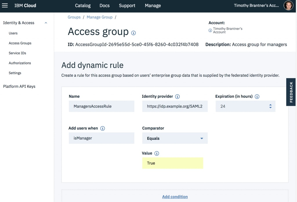 Create Dynamic Rules for Access Groups | IBM