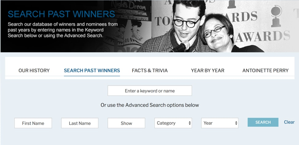 Tony Awards Past Winners search page