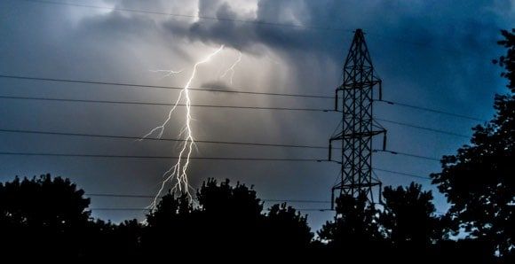 Lightning behind power lines