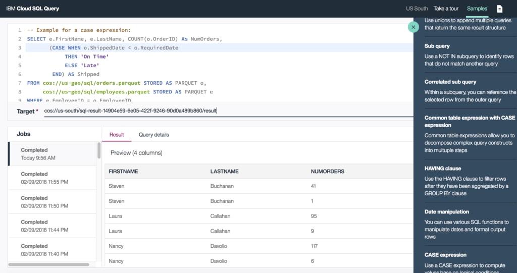 Introducing IBM Cloud SQL Query | IBM