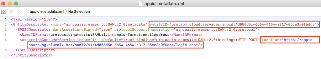 Download SAML Metadata file