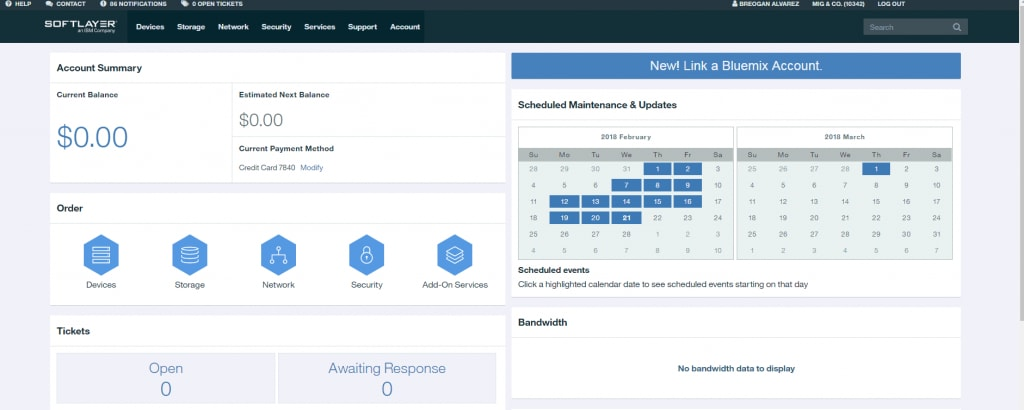 New! Link a Bluemix Account