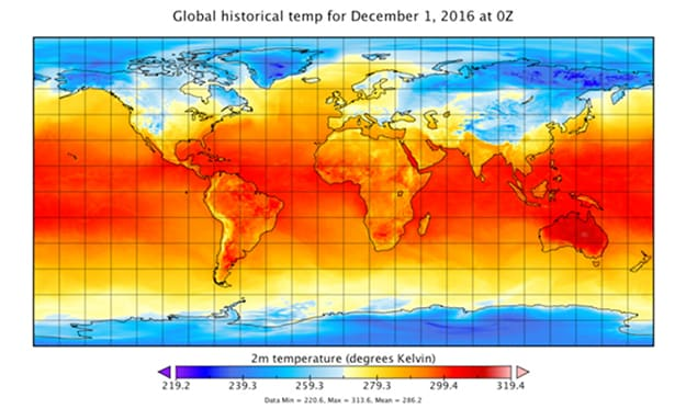 World map showing global historical temperatures for December 1, 2016
