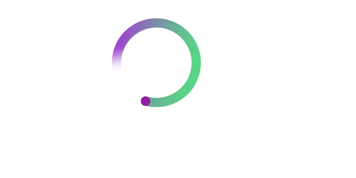 Multi-colored magnifying glass graphic