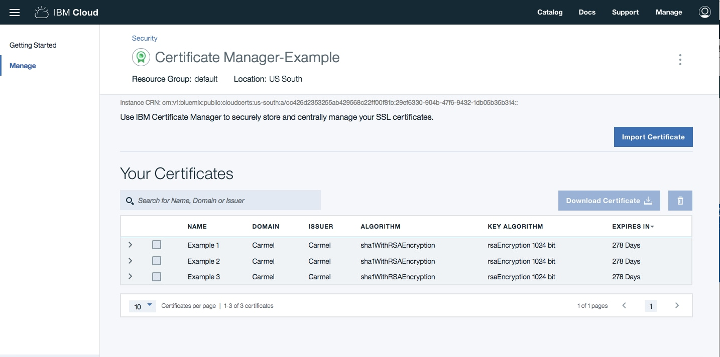 IBM Cloud Certificate Manager