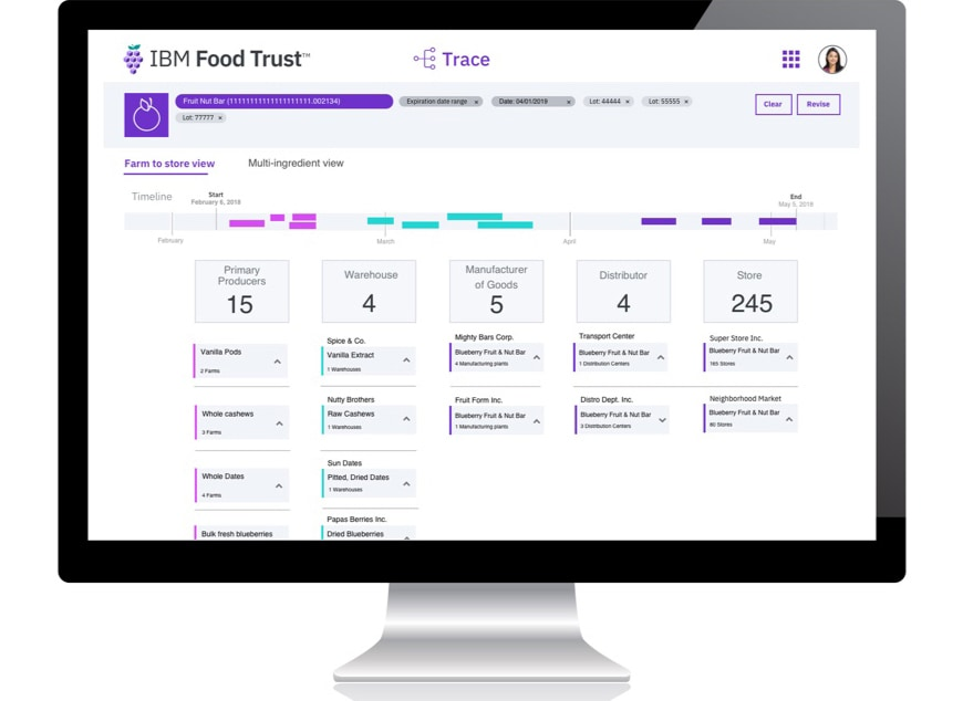 Software de IBM Food Trust, pantalla de interfaz del módulo Trace