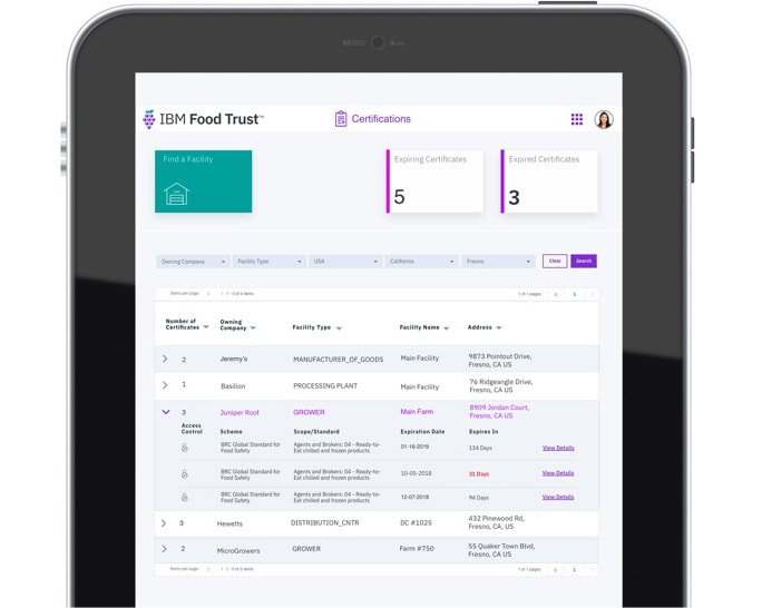 Software IBM Food Trust, pantalla de la interfaz de Certifications