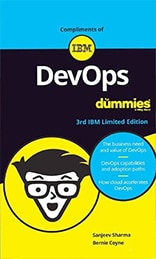 A screen shot of the front cover of the DevOps For Dummies ebook