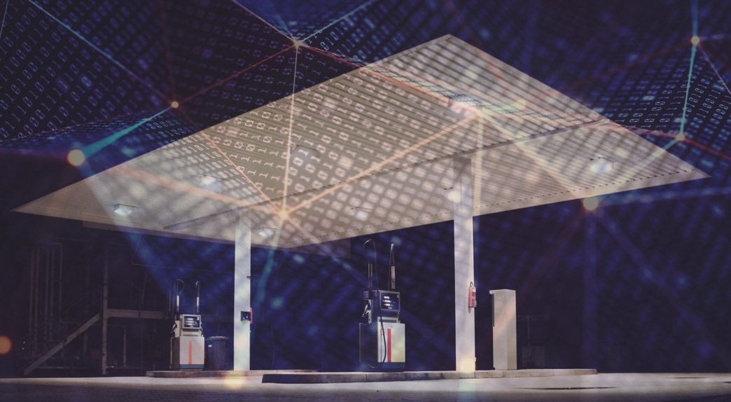 A fuel station at night