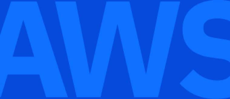 "The word ""AWS"" in blue"