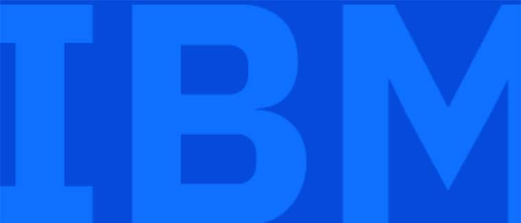 "The word ""IBM"" in blue"