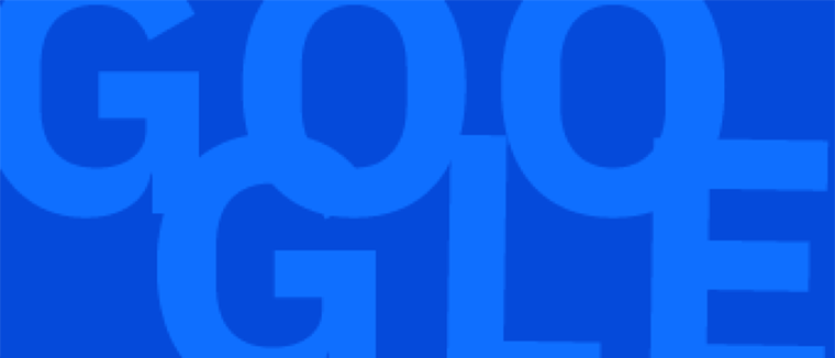 """The word """"GOOGLE"""" in blue"""