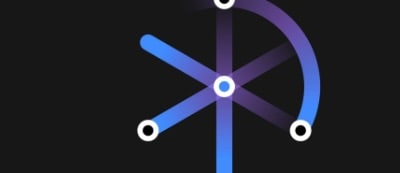 graphic icon with circles connected by intersecting blue cords