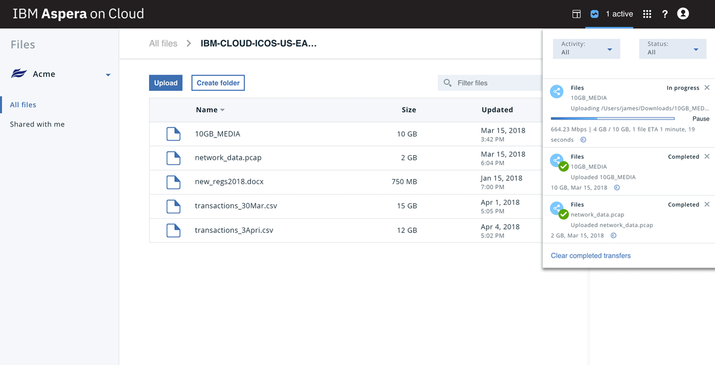 Screenshot showing product UI  ability to provide real-time control of your transfers
