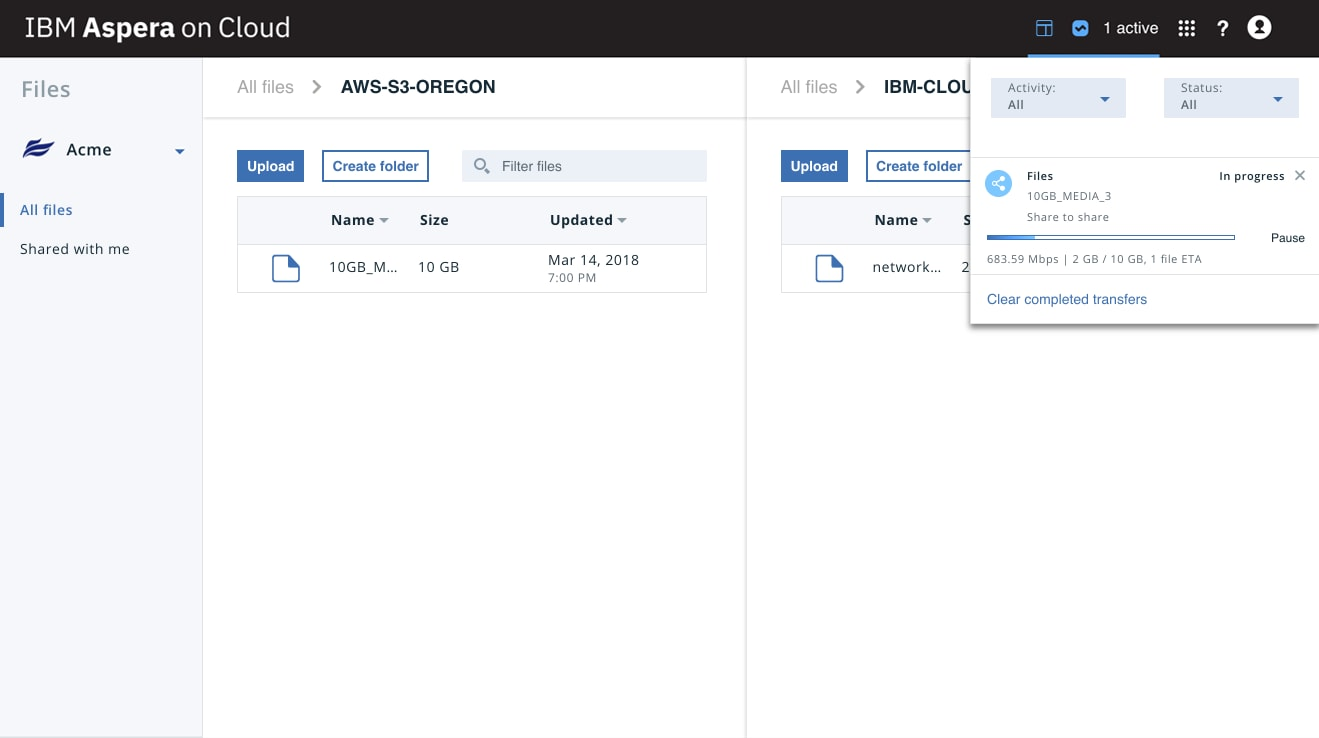 Screen capture of product UI that shows the ability to drag and drop data to transfer between cloud and on-premises storage