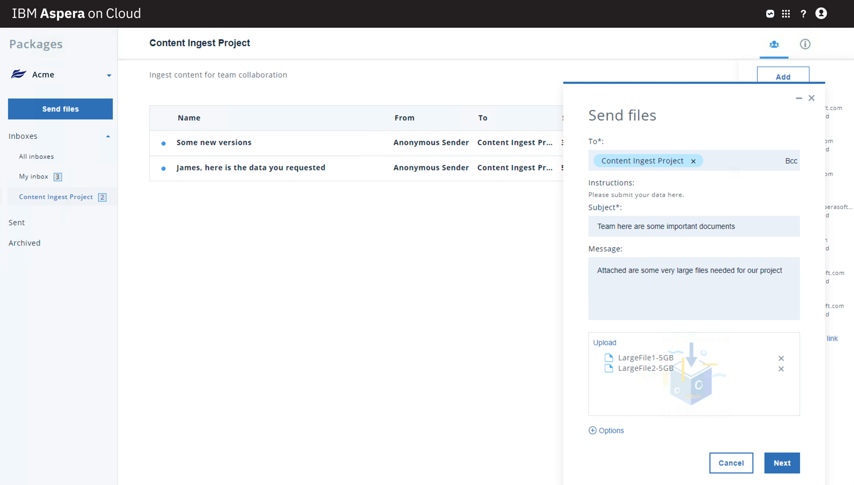 Screenshot showing product UI ability to send packages of files to a shared inbox dropbox
