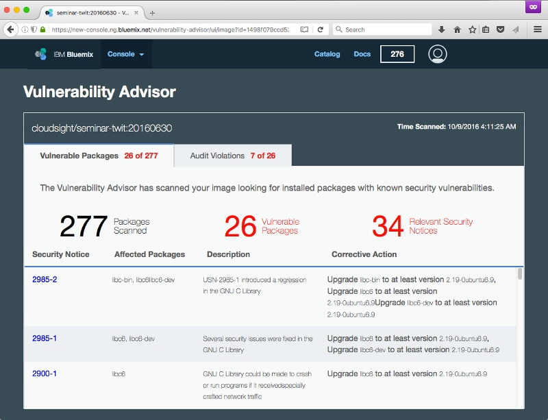 Example output from IBM's Vulnerability Advisor.