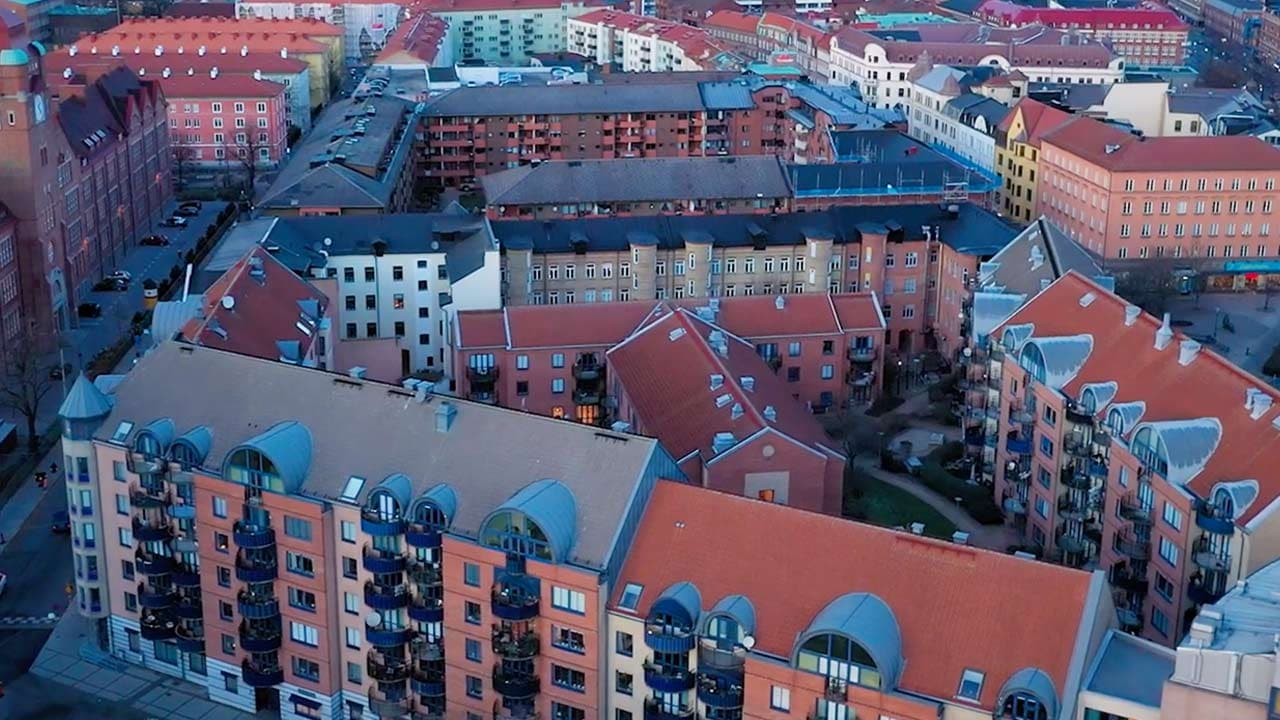 Upper view from a Swedish city