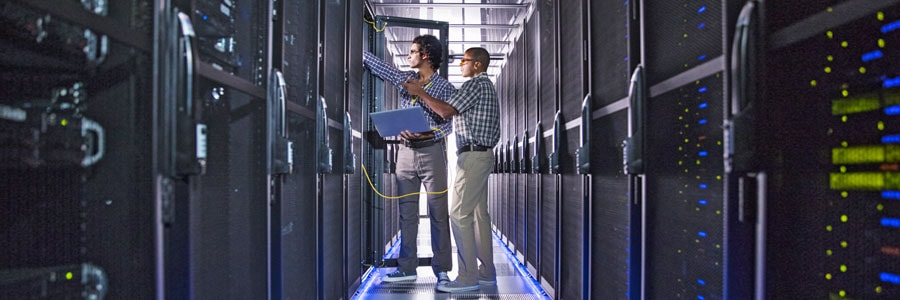 Two data center workers explore digital transformation