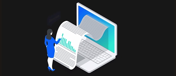 Illustration of woman reading a report from a laptop screen.