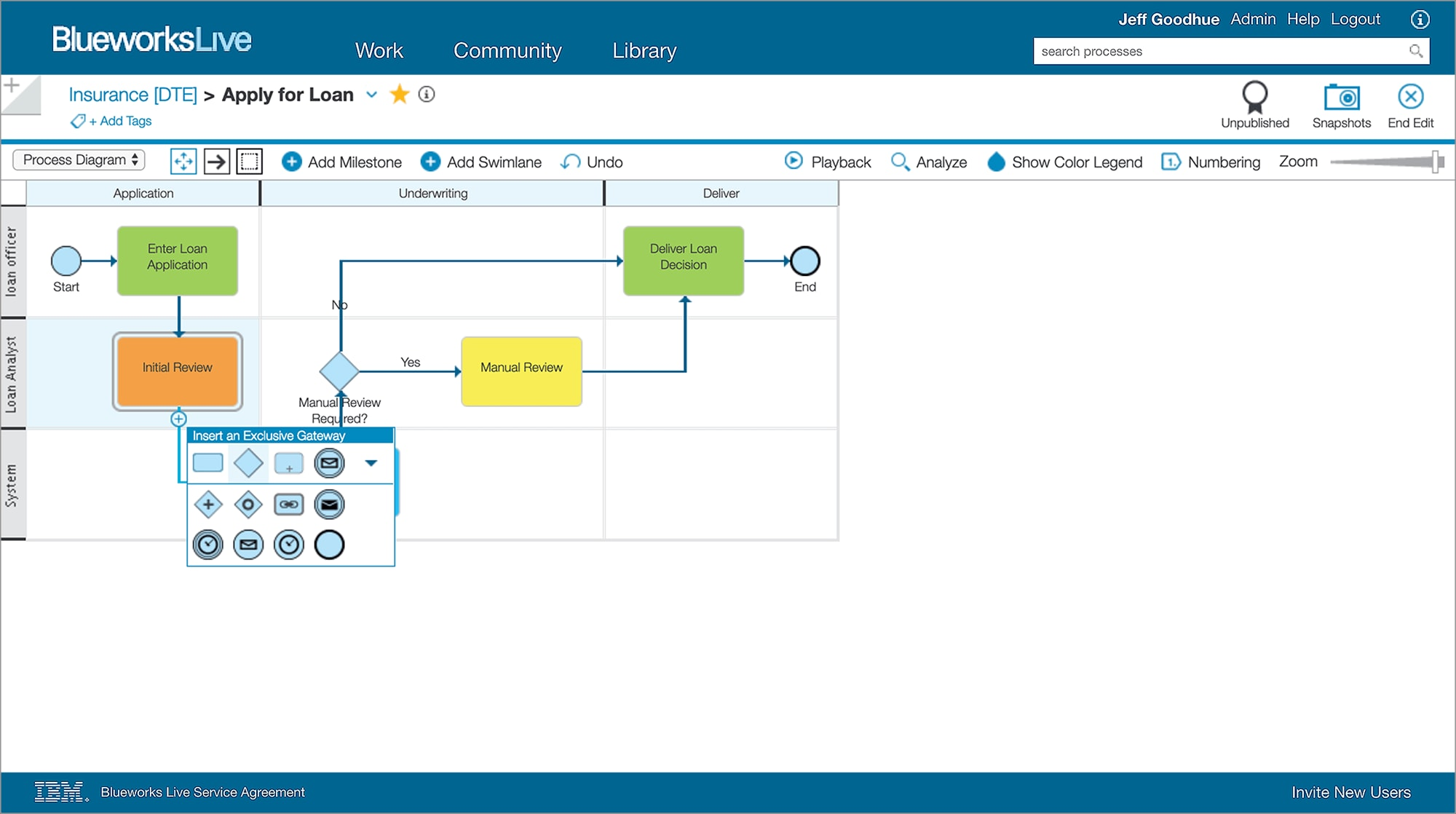 IBM Blueworks Live page, showing drag-and-drop mapping.