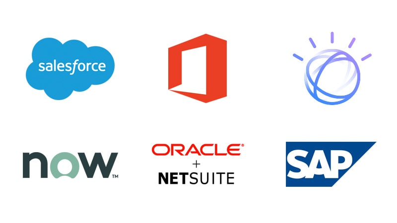 App Connect connectors include Salesforce, ServiceNow, Microsoft, Oracle Netsuite, Watson and SAP