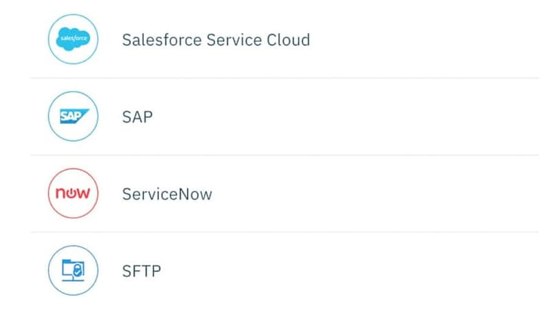 Screenshot showing icons for Salesforce Service Cloud, SAP, ServiceNow and SFTP