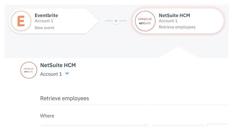 Screenshot showing integration between Eventbrite and NetSuite HCM.
