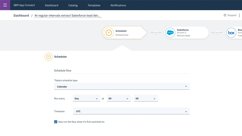 Screenshot showing IBM App Connect capabilities for gathering leads from Salesforce